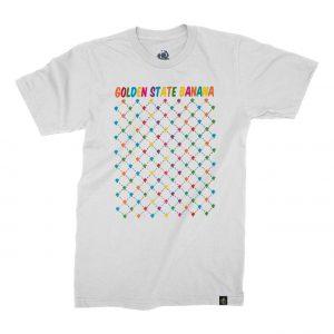 White Golden State Banana Pattern T-Shirt – Multi Colour