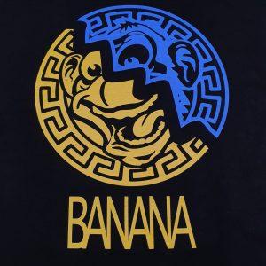Golden State Banana | Yellow/Blue Aztec Warrior on Black T-shirt