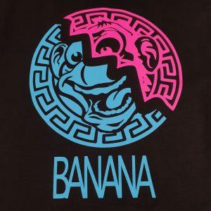 Golden State Banana | Pink/Blue Aztec Warrior on Black T-shirt